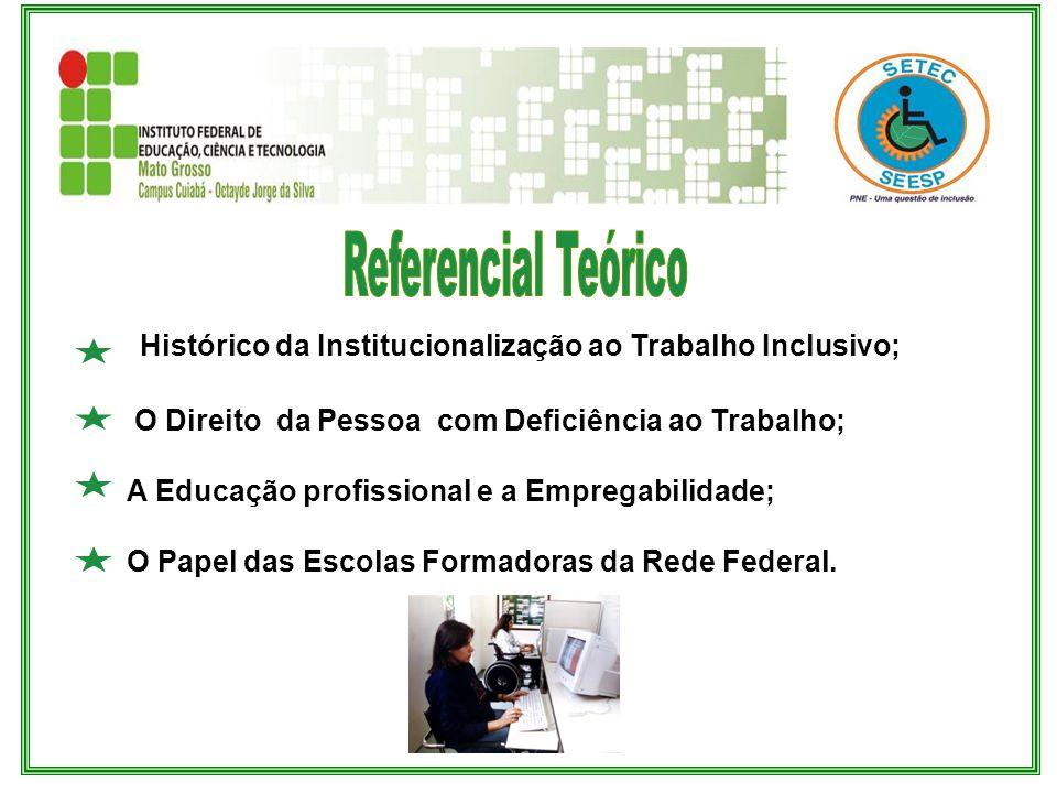 Histórico da Institucionalização ao Trabalho Inclusivo; O Direito da Pessoa com Deficiência ao Trabalho; A Educação profissional e a Empregabilidade;