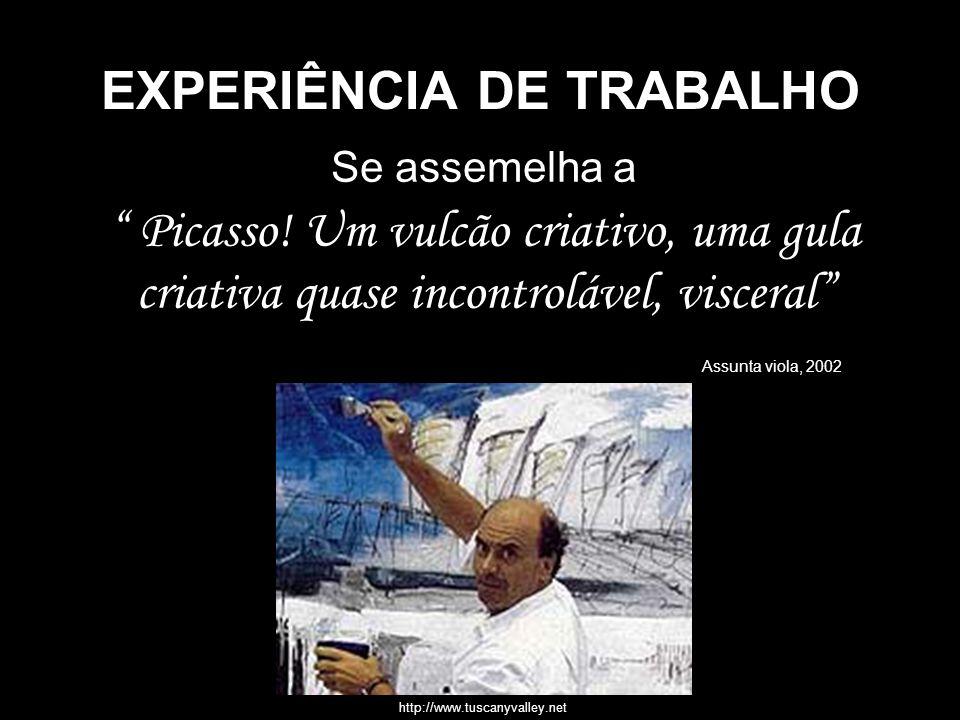 EXPERIÊNCIA DE TRABALHO Se assemelha a Picasso! Um vulcão criativo, uma gula criativa quase incontrolável, visceral Assunta viola, 2002 http://www.tus