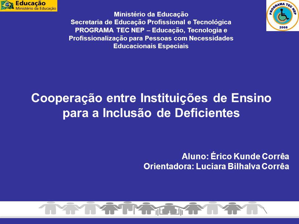 Aluno: Érico Kunde Corrêa Orientadora: Luciara Bilhalva Corrêa Cooperação entre Instituições de Ensino para a Inclusão de Deficientes Ministério da Ed