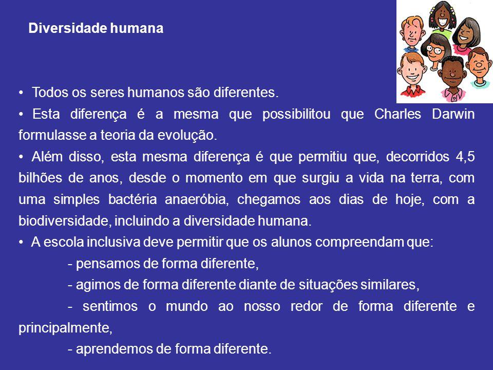 Diversidade humana Todos os seres humanos são diferentes. Esta diferença é a mesma que possibilitou que Charles Darwin formulasse a teoria da evolução