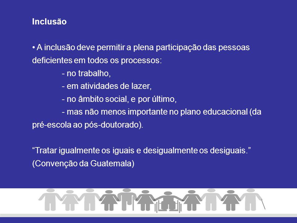 Inclusão A inclusão deve permitir a plena participação das pessoas deficientes em todos os processos: - no trabalho, - em atividades de lazer, - no âm