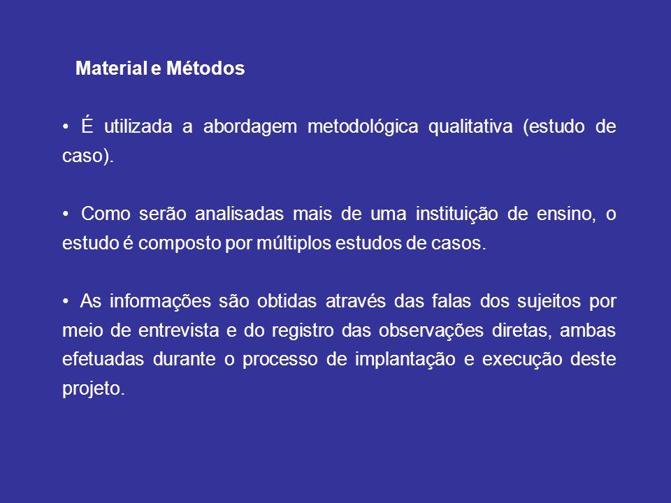 Material e Métodos É utilizada a abordagem metodológica qualitativa (estudo de caso). Como serão analisadas mais de uma instituição de ensino, o estud