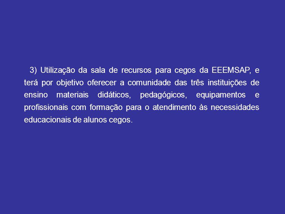 3) Utilização da sala de recursos para cegos da EEEMSAP, e terá por objetivo oferecer a comunidade das três instituições de ensino materiais didáticos