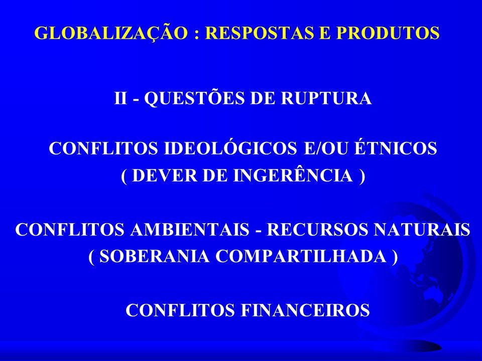GLOBALIZAÇÃO : RESPOSTAS E PRODUTOS II - QUESTÕES DE RUPTURA CONFLITOS IDEOLÓGICOS E/OU ÉTNICOS ( DEVER DE INGERÊNCIA ) CONFLITOS AMBIENTAIS - RECURSO