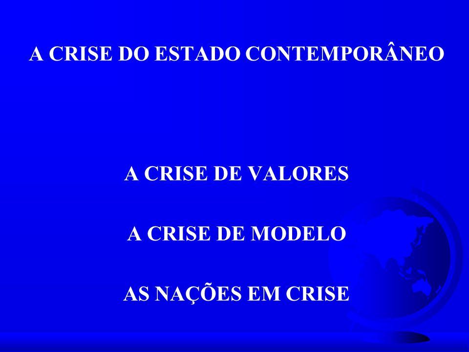 A CRISE DO ESTADO CONTEMPORÂNEO A CRISE DE VALORES A CRISE DE MODELO AS NAÇÕES EM CRISE