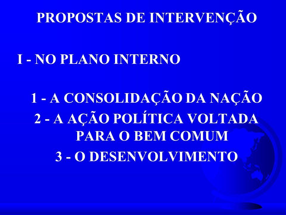 PROPOSTAS DE INTERVENÇÃO I - NO PLANO INTERNO 1 - A CONSOLIDAÇÃO DA NAÇÃO 2 - A AÇÃO POLÍTICA VOLTADA PARA O BEM COMUM 3 - O DESENVOLVIMENTO