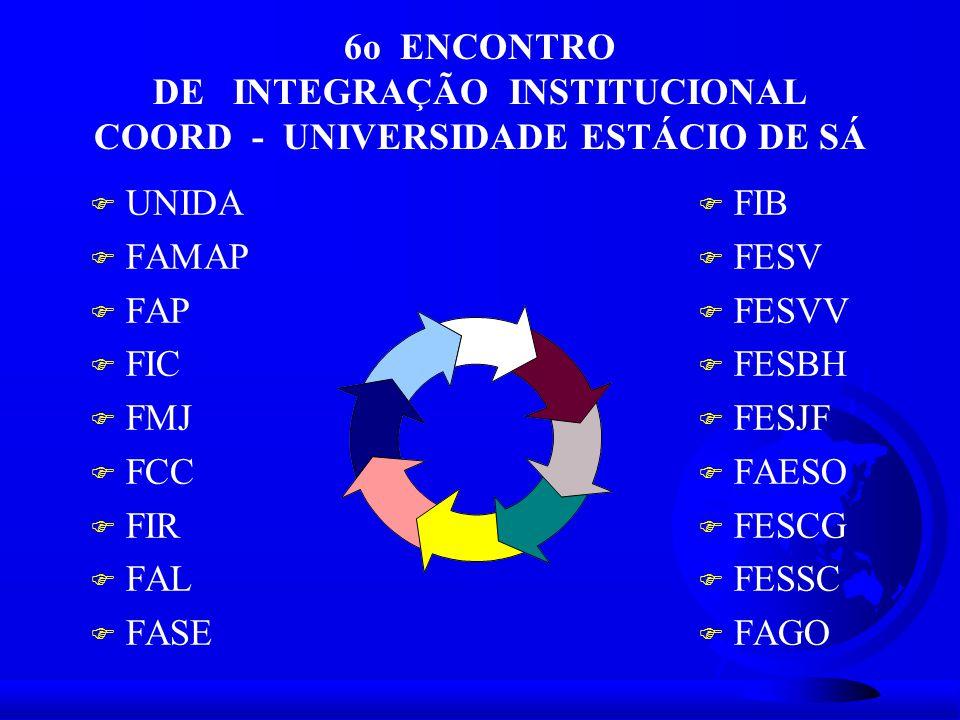 6o ENCONTRO DE INTEGRAÇÃO INSTITUCIONAL COORD - UNIVERSIDADE ESTÁCIO DE SÁ F UNIDA F FAMAP F FAP F FIC F FMJ F FCC F FIR F FAL F FASE F FIB F FESV F F