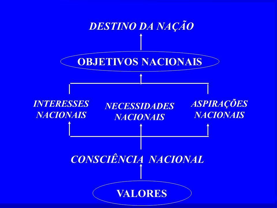 DESTINO DA NAÇÃO INTERESSES NACIONAIS ASPIRAÇÕES NACIONAIS CONSCIÊNCIA NACIONAL OBJETIVOS NACIONAIS VALORES NECESSIDADES NACIONAIS