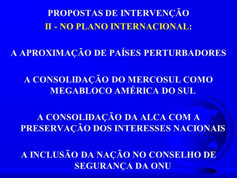 PROPOSTAS DE INTERVENÇÃO II - NO PLANO INTERNACIONAL: A APROXIMAÇÃO DE PAÍSES PERTURBADORES A CONSOLIDAÇÃO DO MERCOSUL COMO MEGABLOCO AMÉRICA DO SUL A
