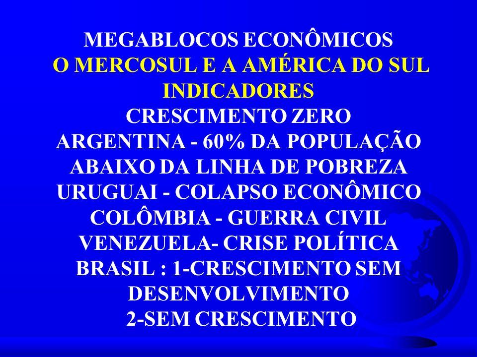MEGABLOCOS ECONÔMICOS O MERCOSUL E A AMÉRICA DO SUL INDICADORES CRESCIMENTO ZERO ARGENTINA - 60% DA POPULAÇÃO ABAIXO DA LINHA DE POBREZA URUGUAI - COL