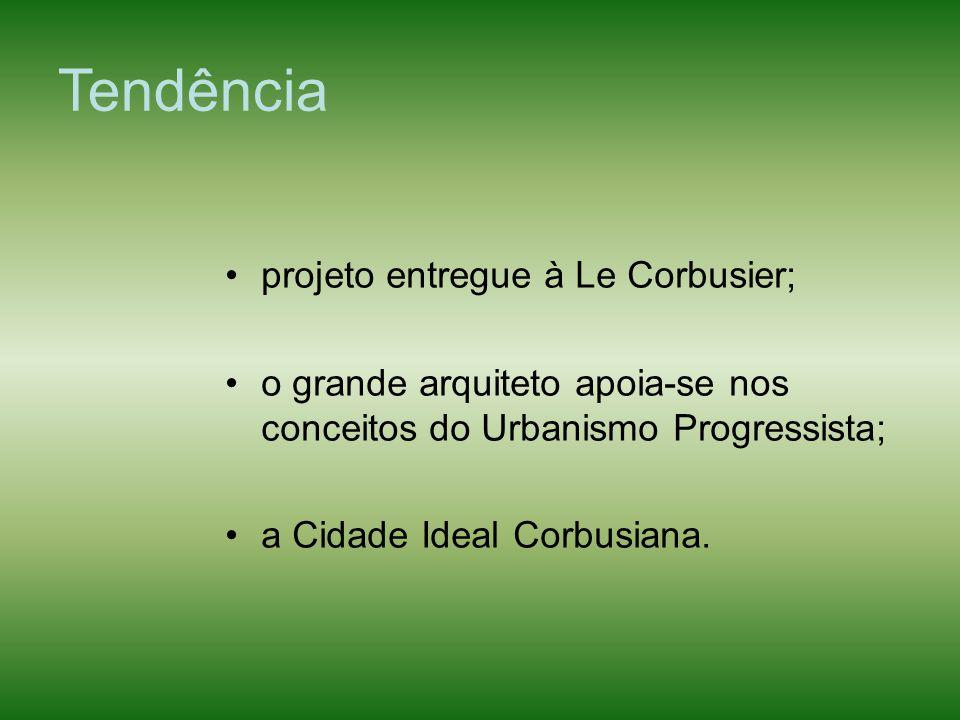 Tendência projeto entregue à Le Corbusier; o grande arquiteto apoia-se nos conceitos do Urbanismo Progressista; a Cidade Ideal Corbusiana.
