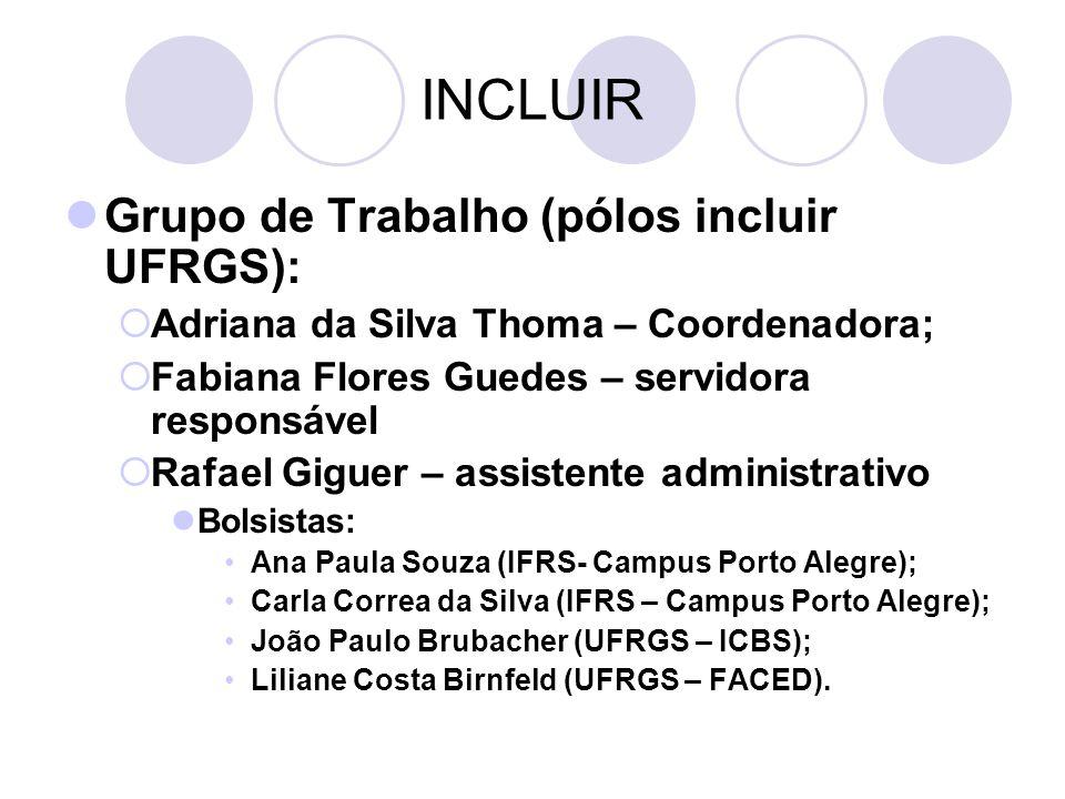 INCLUIR Grupo de Trabalho (pólos incluir UFRGS): Adriana da Silva Thoma – Coordenadora; Fabiana Flores Guedes – servidora responsável Rafael Giguer –