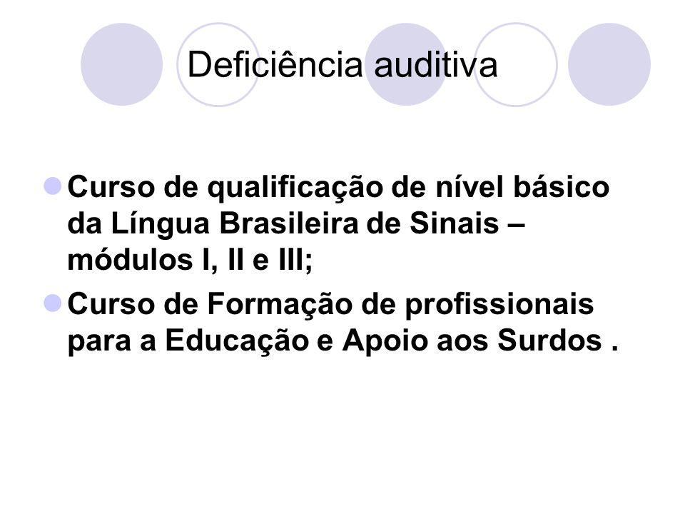 Deficiência auditiva Curso de qualificação de nível básico da Língua Brasileira de Sinais – módulos I, II e III; Curso de Formação de profissionais pa