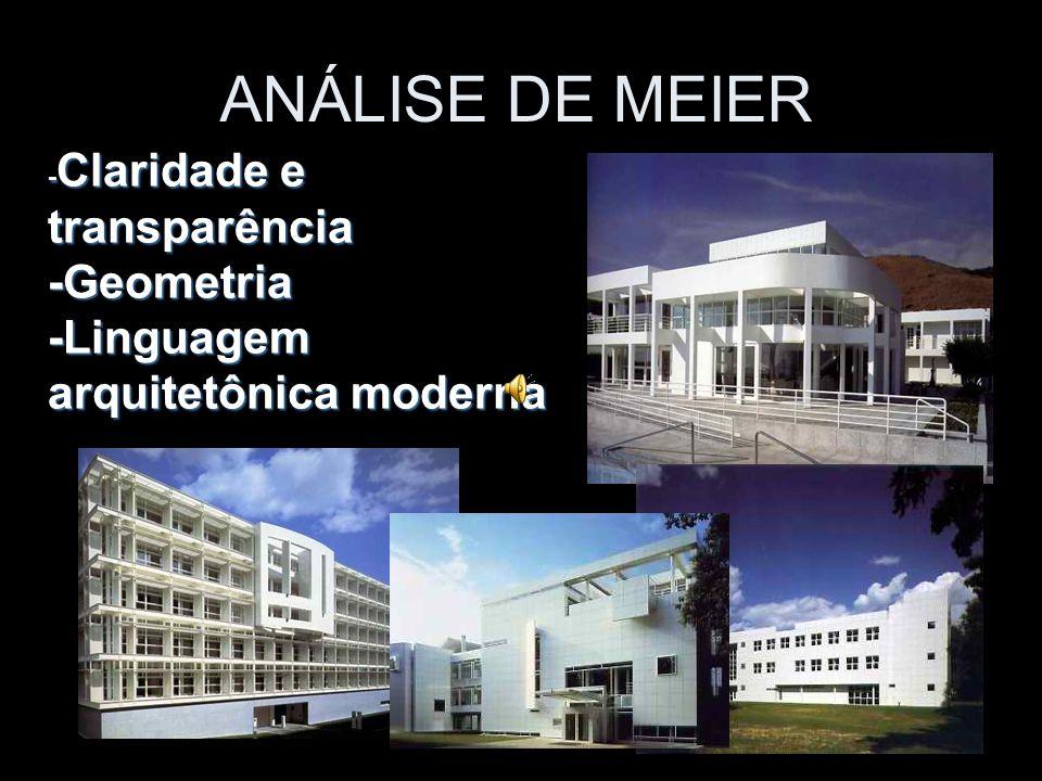 - Claridade e transparência -Geometria -Linguagem arquitetônica moderna ANÁLISE DE MEIER