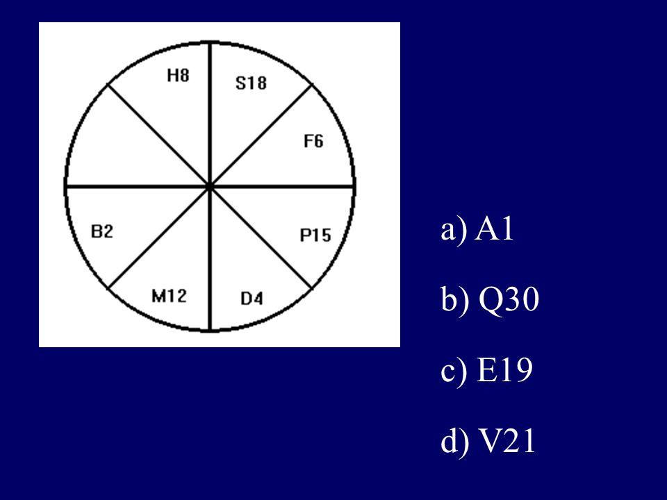 a) A1 b) Q30 c) E19 d) V21