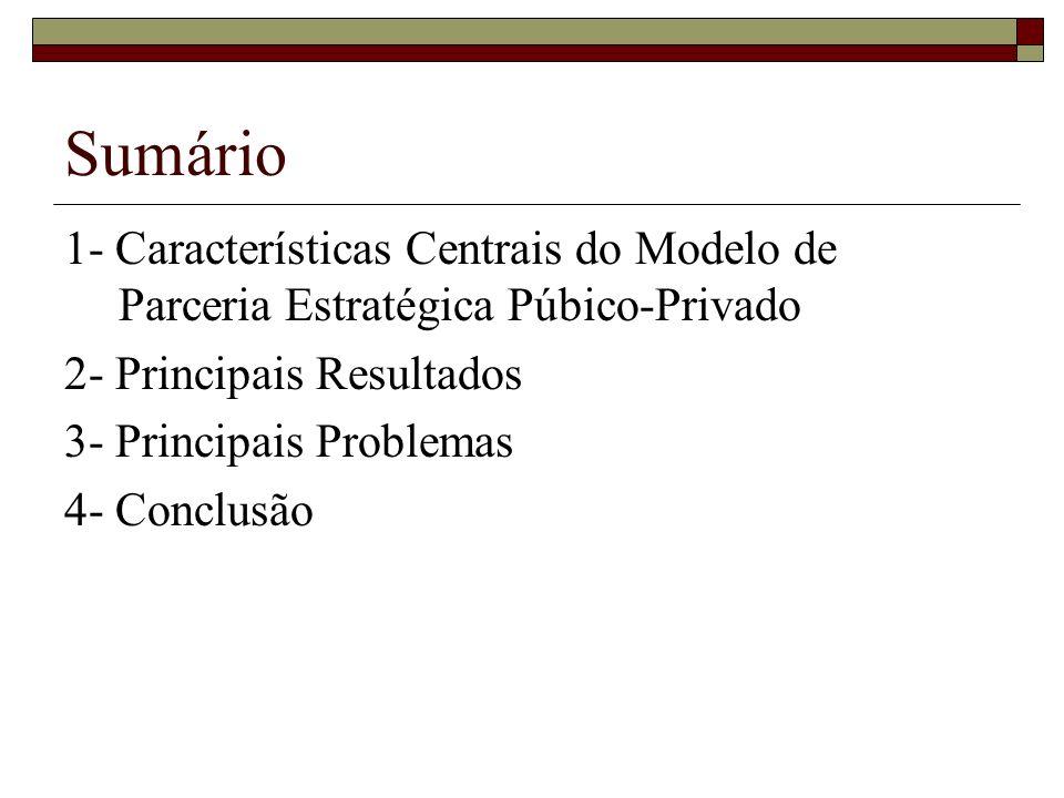 Sumário 1- Características Centrais do Modelo de Parceria Estratégica Púbico-Privado 2- Principais Resultados 3- Principais Problemas 4- Conclusão
