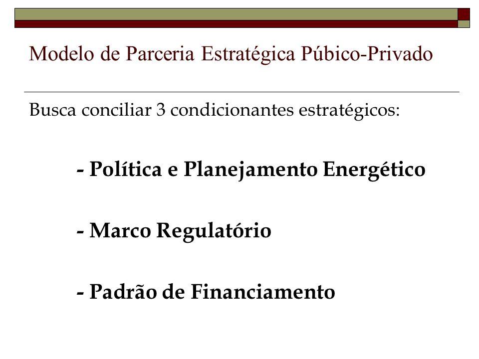 Modelo de Parceria Estratégica Púbico-Privado Busca conciliar 3 condicionantes estratégicos: - Política e Planejamento Energético - Marco Regulatório - Padrão de Financiamento