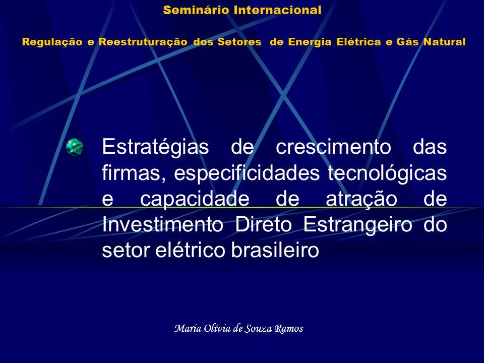 Seminário Internacional Regulação e Reestruturação dos Setores de Energia Elétrica e Gás Natural Estratégias de crescimento das firmas, especificidade