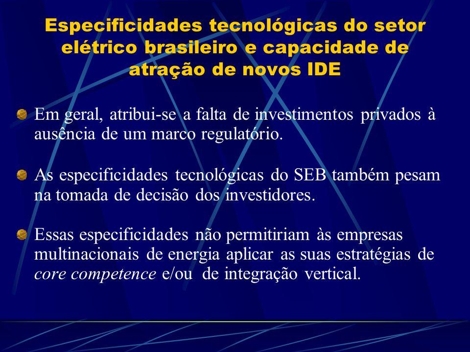 Especificidades tecnológicas do setor elétrico brasileiro e capacidade de atração de novos IDE Em geral, atribui-se a falta de investimentos privados