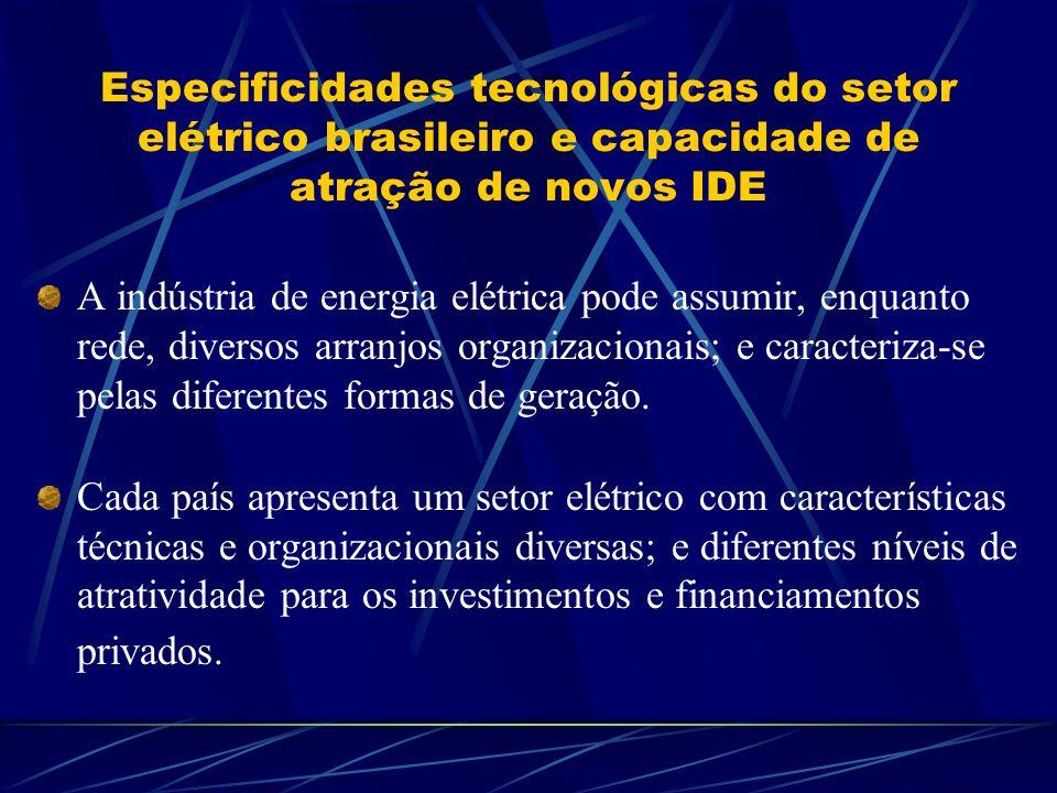Especificidades tecnológicas do setor elétrico brasileiro e capacidade de atração de novos IDE A indústria de energia elétrica pode assumir, enquanto