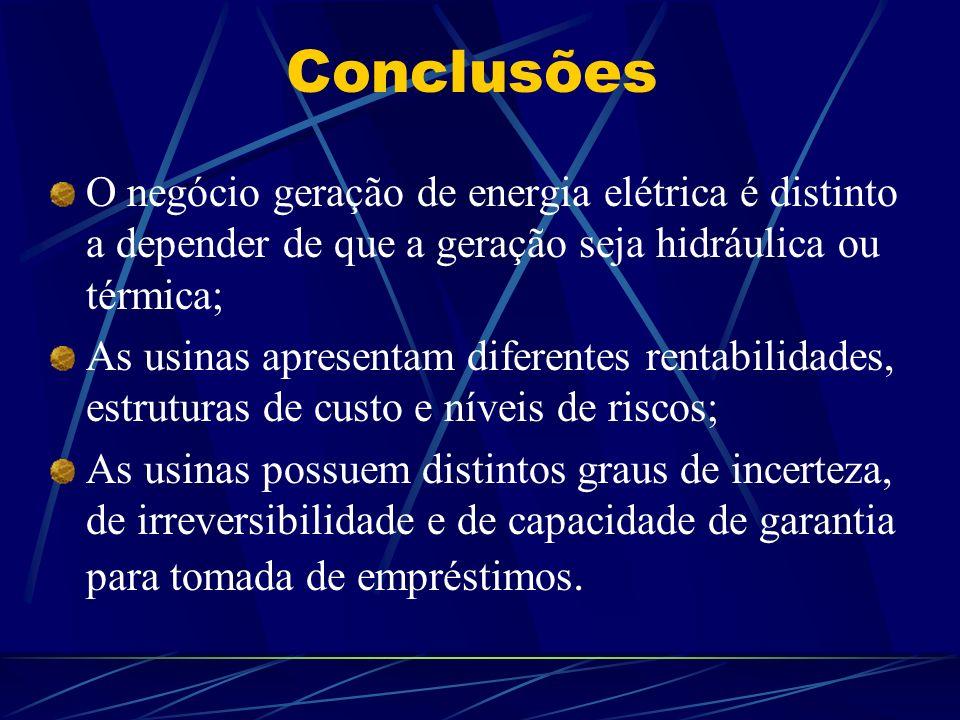 Conclusões O negócio geração de energia elétrica é distinto a depender de que a geração seja hidráulica ou térmica; As usinas apresentam diferentes re