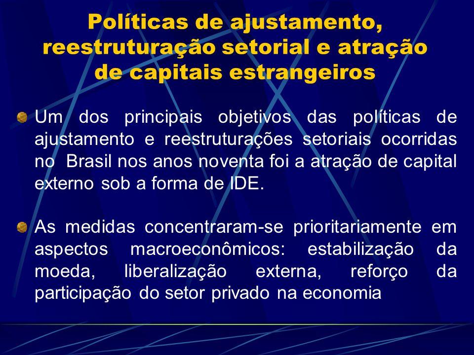 Políticas de ajustamento, reestruturação setorial e atração de capitais estrangeiros Um dos principais objetivos das políticas de ajustamento e reestr
