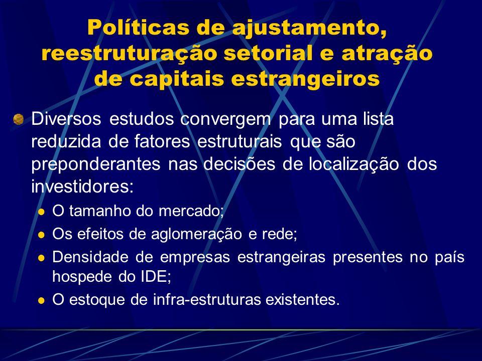 Políticas de ajustamento, reestruturação setorial e atração de capitais estrangeiros Diversos estudos convergem para uma lista reduzida de fatores est