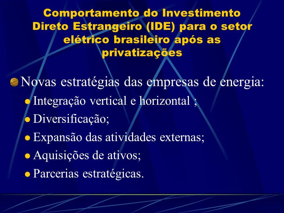 Comportamento do Investimento Direto Estrangeiro (IDE) para o setor elétrico brasileiro após as privatizações Novas estratégias das empresas de energi