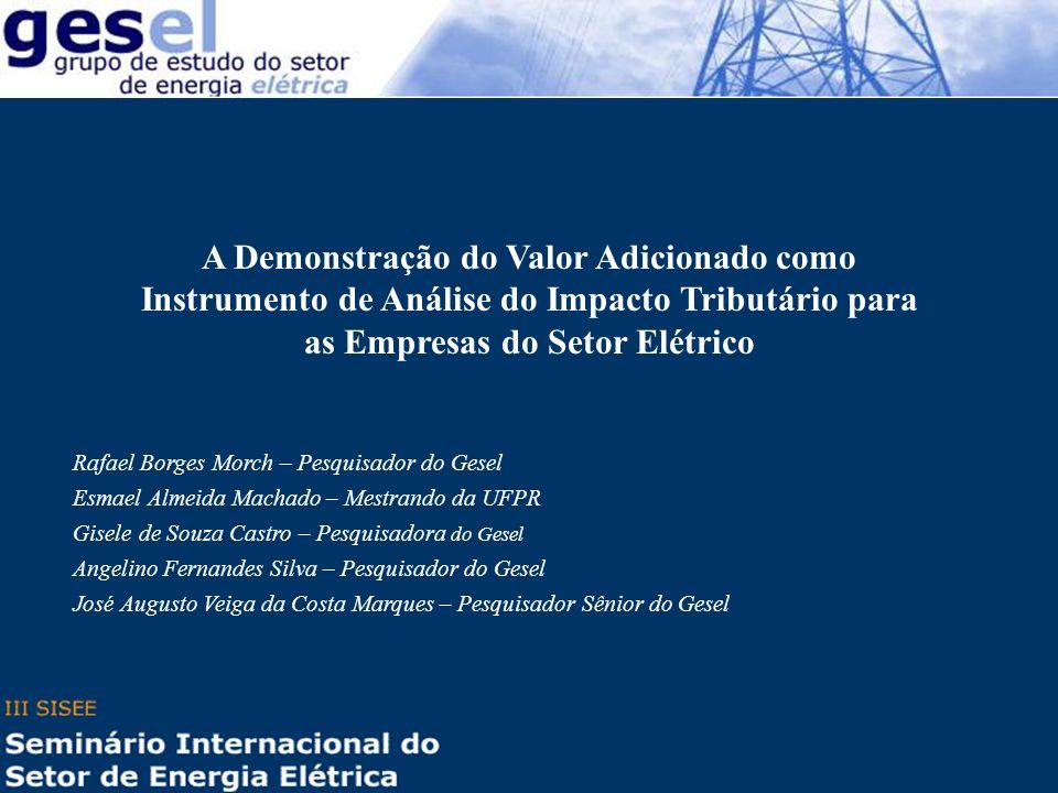 A Demonstração do Valor Adicionado como Instrumento de Análise do Impacto Tributário para as Empresas do Setor Elétrico Rafael Borges Morch – Pesquisa