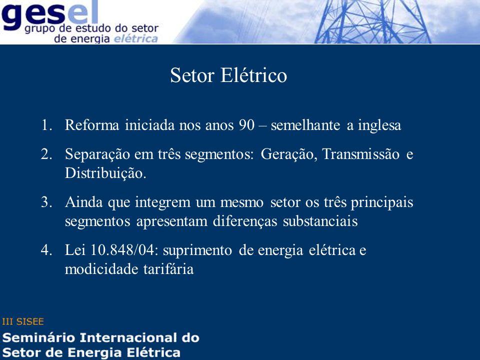 Setor Elétrico 1.Reforma iniciada nos anos 90 – semelhante a inglesa 2.Separação em três segmentos: Geração, Transmissão e Distribuição. 3.Ainda que i