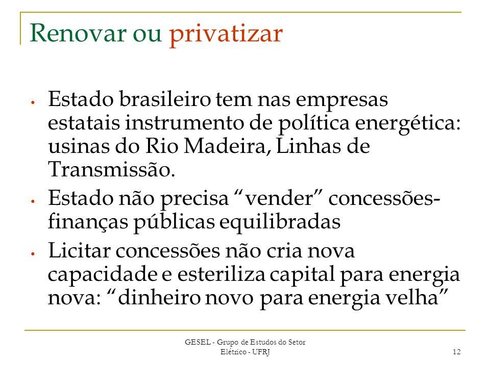 GESEL - Grupo de Estudos do Setor Elétrico - UFRJ 12 Renovar ou privatizar Estado brasileiro tem nas empresas estatais instrumento de política energética: usinas do Rio Madeira, Linhas de Transmissão.