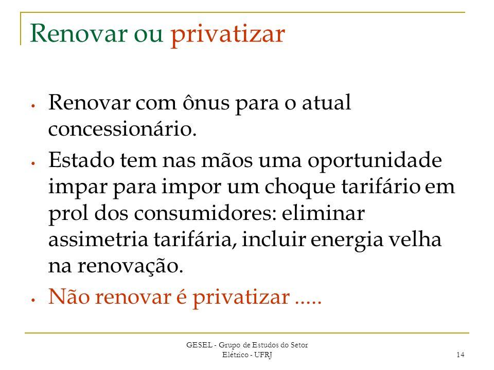GESEL - Grupo de Estudos do Setor Elétrico - UFRJ 14 Renovar ou privatizar Renovar com ônus para o atual concessionário.