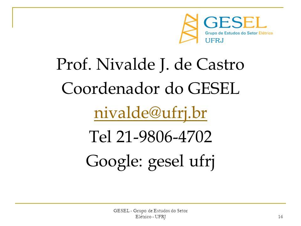 GESEL - Grupo de Estudos do Setor Elétrico - UFRJ 16 Prof.