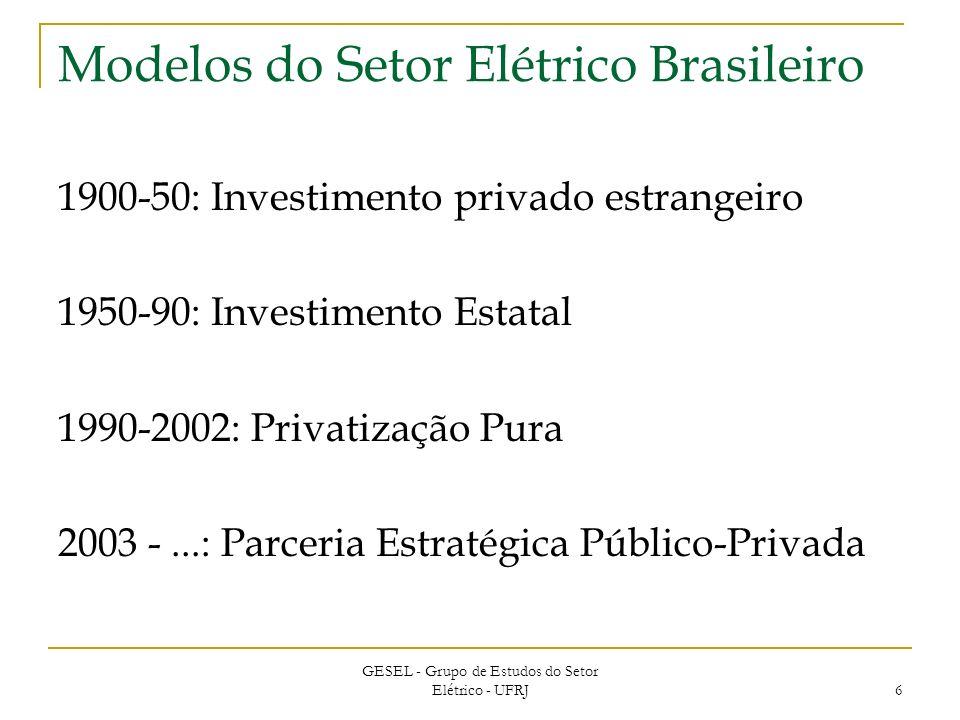 GESEL - Grupo de Estudos do Setor Elétrico - UFRJ 6 Modelos do Setor Elétrico Brasileiro 1900-50: Investimento privado estrangeiro 1950-90: Investimento Estatal 1990-2002: Privatização Pura 2003 -...: Parceria Estratégica Público-Privada