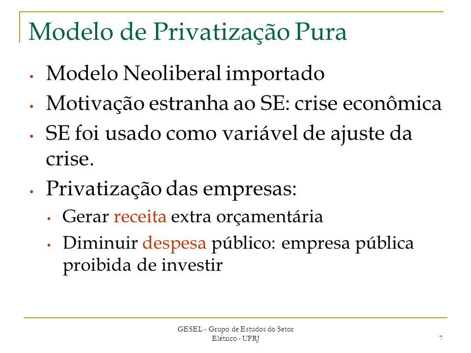 GESEL - Grupo de Estudos do Setor Elétrico - UFRJ 7 Modelo de Privatização Pura Modelo Neoliberal importado Motivação estranha ao SE: crise econômica SE foi usado como variável de ajuste da crise.