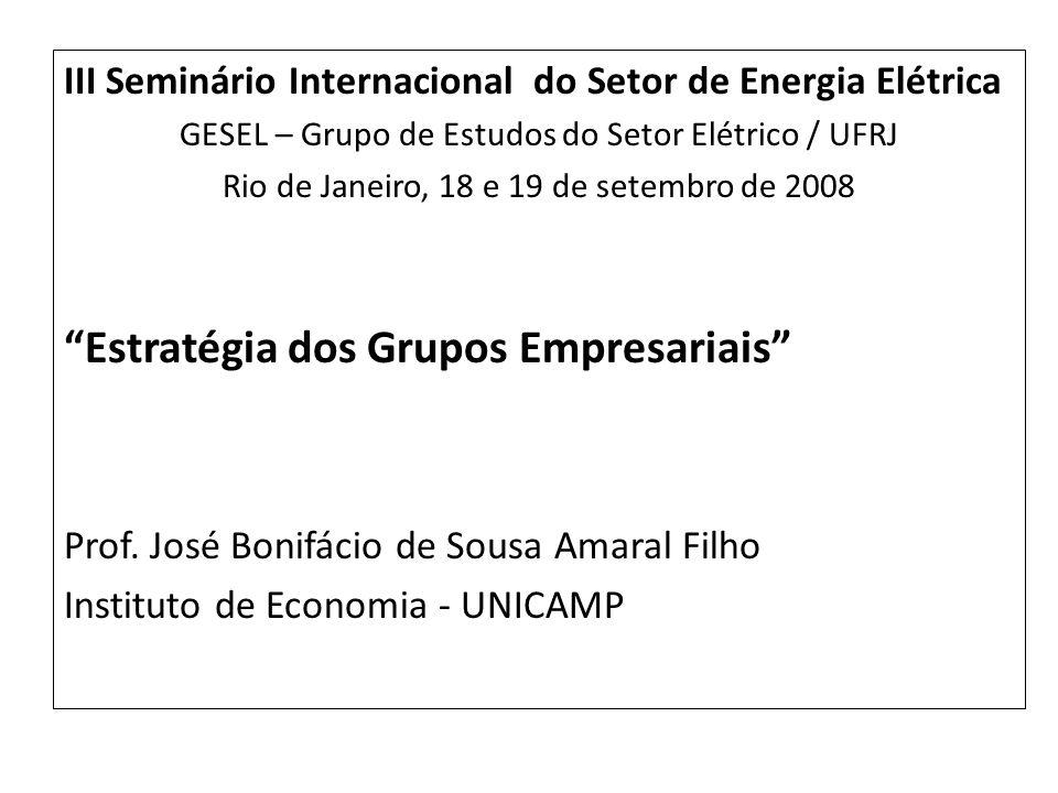 III Seminário Internacional do Setor de Energia Elétrica GESEL – Grupo de Estudos do Setor Elétrico / UFRJ Rio de Janeiro, 18 e 19 de setembro de 2008 Estratégia dos Grupos Empresariais Prof.