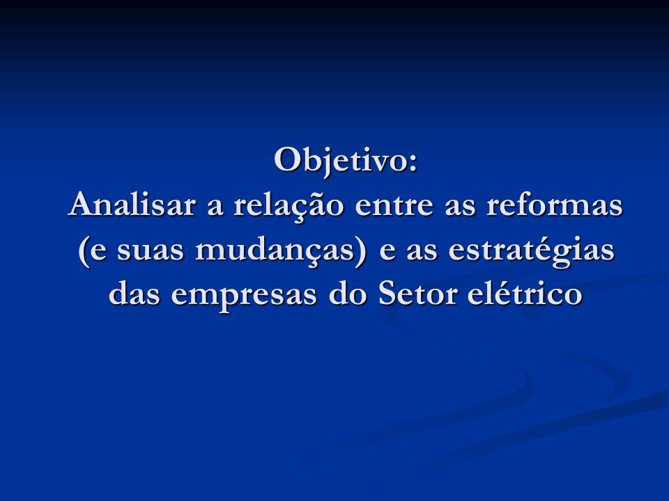 Objetivo: Analisar a relação entre as reformas (e suas mudanças) e as estratégias das empresas do Setor elétrico