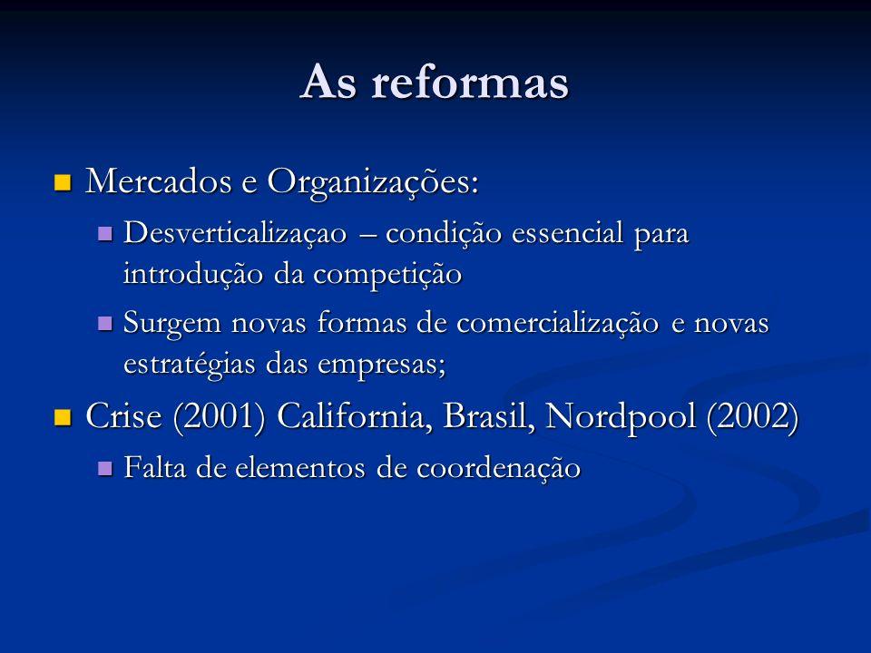 As reformas Joskow (2006) sobre as reformas: Joskow (2006) sobre as reformas: Criar mercados competitivos de eletricidade é um desafio técnico expressivo e requer significativas mudanças na estrutura industrial e o suporte de arranjos institucionais e regulatórios.