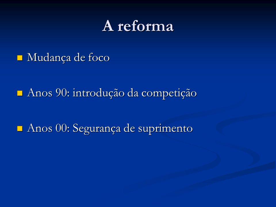 A reforma Mudança de foco Mudança de foco Anos 90: introdução da competição Anos 90: introdução da competição Anos 00: Segurança de suprimento Anos 00