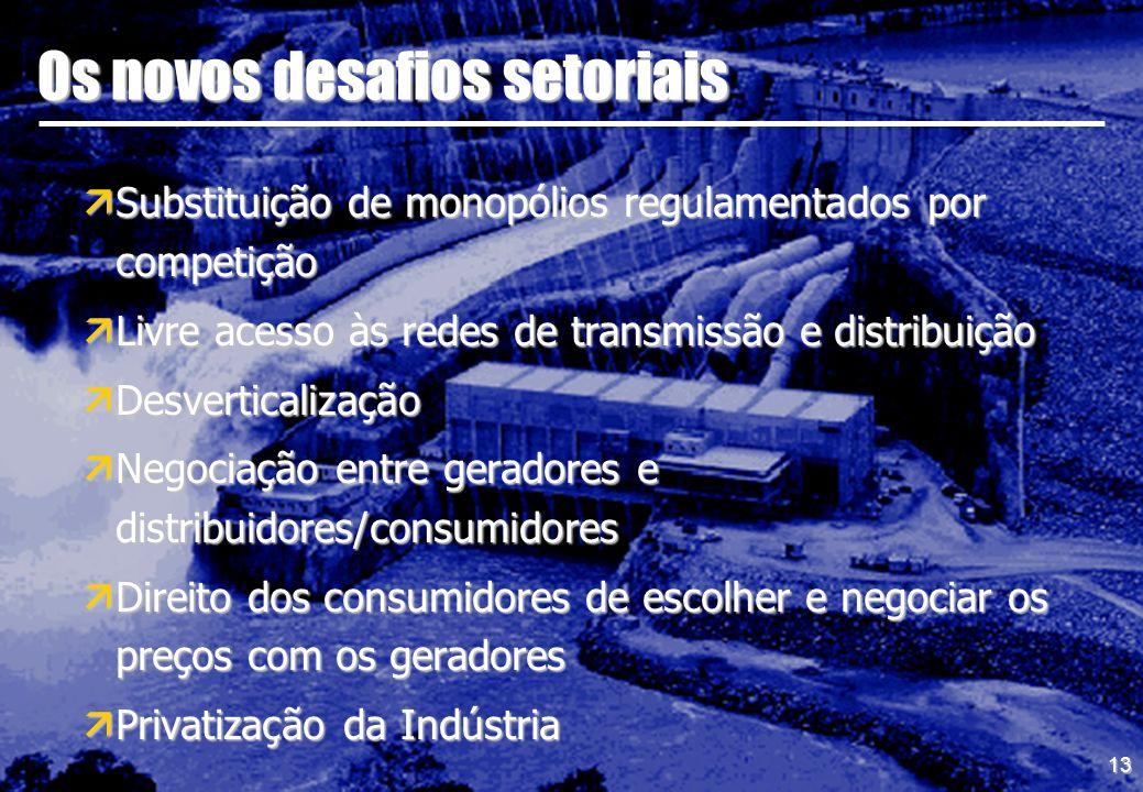 13 Os novos desafios setoriais äSubstituição de monopólios regulamentados por competição äLivre acesso às redes de transmissão e distribuição äDesvert