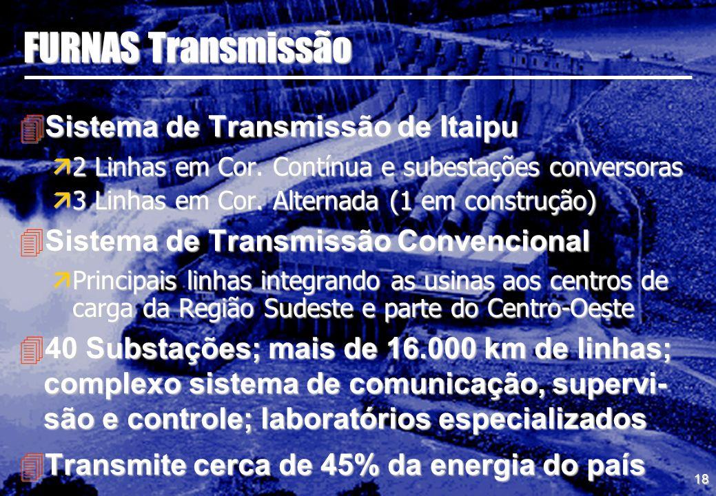 18 FURNAS Transmissão 4Sistema de Transmissão de Itaipu ä2 Linhas em Cor. Contínua e subestações conversoras ä3 Linhas em Cor. Alternada (1 em constru