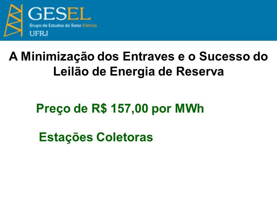 A Minimização dos Entraves e o Sucesso do Leilão de Energia de Reserva Preço de R$ 157,00 por MWh Estações Coletoras