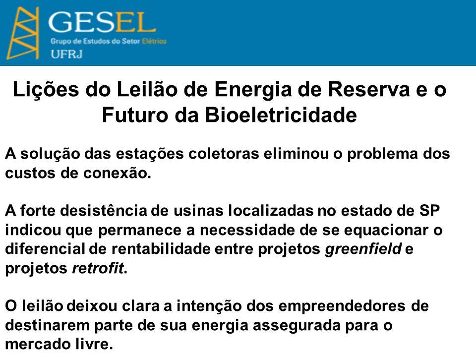 Lições do Leilão de Energia de Reserva e o Futuro da Bioeletricidade A solução das estações coletoras eliminou o problema dos custos de conexão.