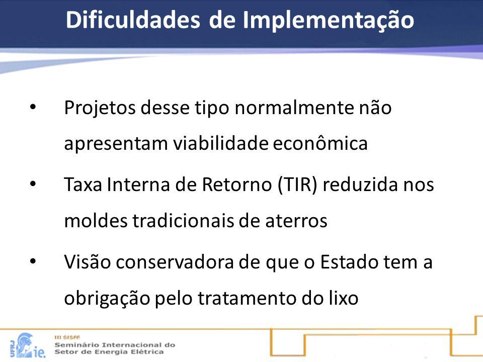 Dificuldades de Implementação Projetos desse tipo normalmente não apresentam viabilidade econômica Taxa Interna de Retorno (TIR) reduzida nos moldes t