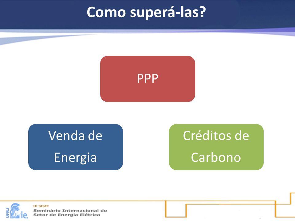 Como superá-las? PPP Venda de Energia Créditos de Carbono
