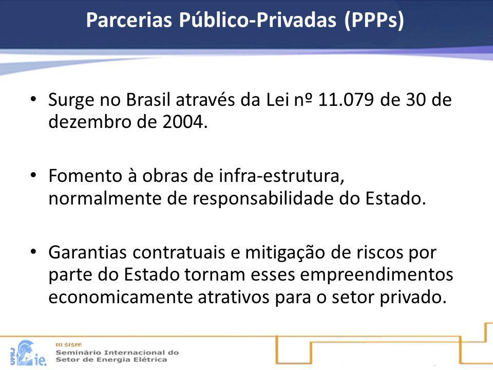 Parcerias Público-Privadas (PPPs) Surge no Brasil através da Lei nº 11.079 de 30 de dezembro de 2004. Fomento à obras de infra-estrutura, normalmente