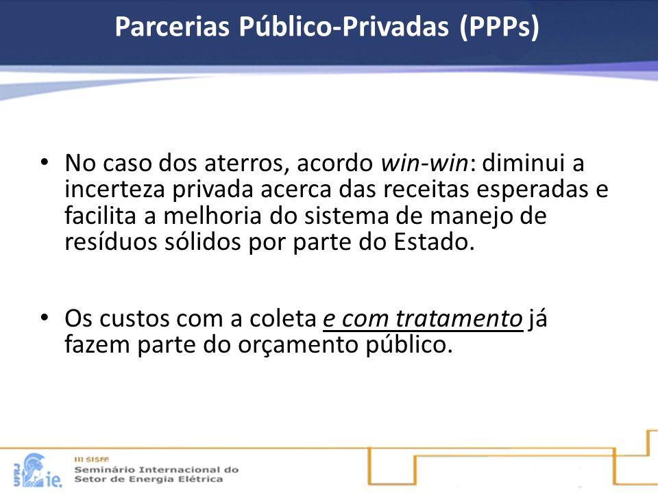 Parcerias Público-Privadas (PPPs) No caso dos aterros, acordo win-win: diminui a incerteza privada acerca das receitas esperadas e facilita a melhoria
