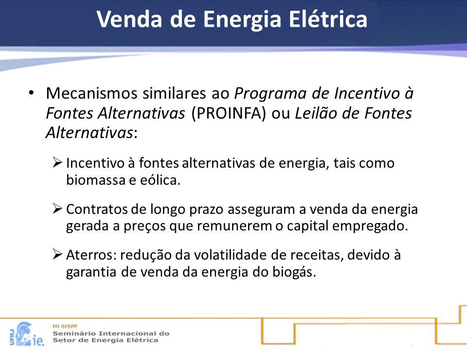 Venda de Energia Elétrica Mecanismos similares ao Programa de Incentivo à Fontes Alternativas (PROINFA) ou Leilão de Fontes Alternativas: Incentivo à