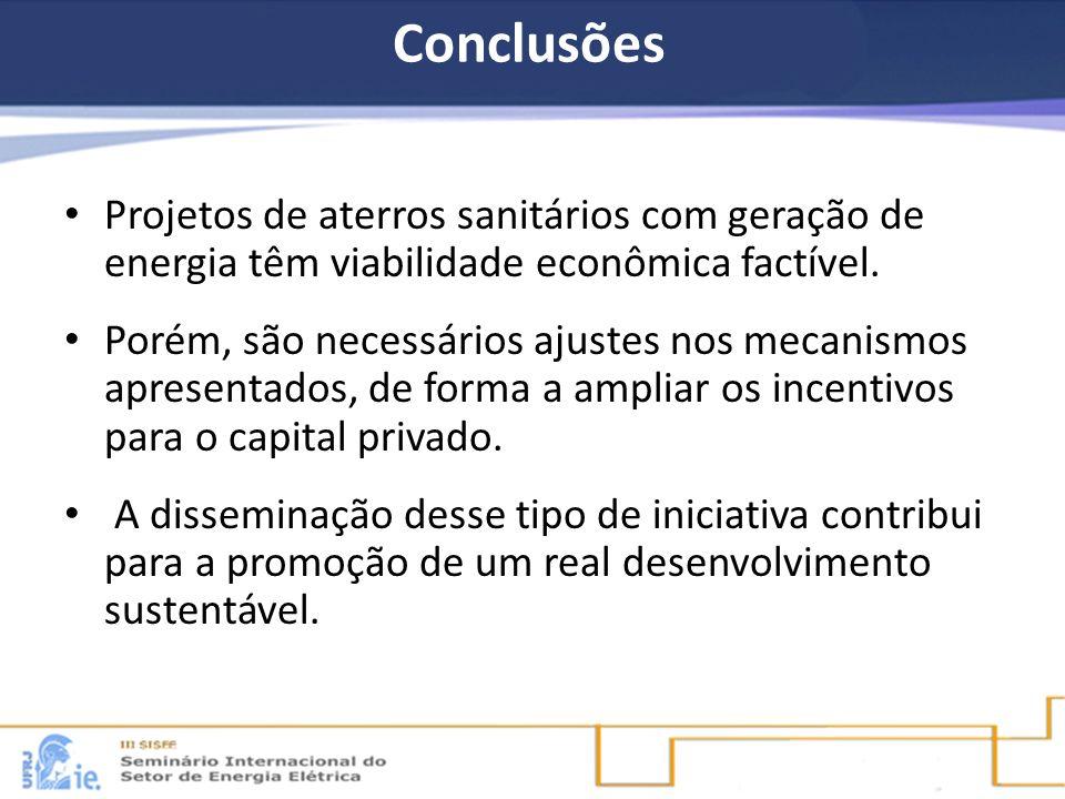 Conclusões Projetos de aterros sanitários com geração de energia têm viabilidade econômica factível. Porém, são necessários ajustes nos mecanismos apr