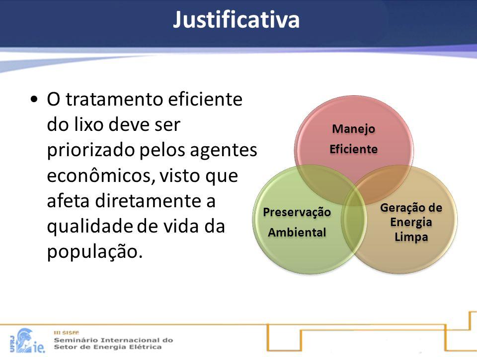 Justificativa O tratamento eficiente do lixo deve ser priorizado pelos agentes econômicos, visto que afeta diretamente a qualidade de vida da populaçã